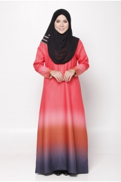 Serina Ombre Zip Orange Grey Jubah Dress