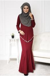 Sandra Peplum Pearl Jubah Dress  (Ready stock)