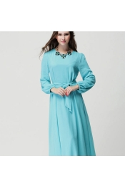 Muslim Modern Jubah Dress Pleated Style With Belt Ribbon