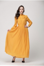 Modern Lace Design Button Retro Casual Jubah Dress