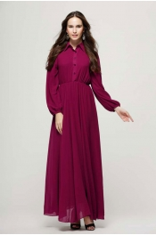 Muslim Collar Style With Button Jubah Dress