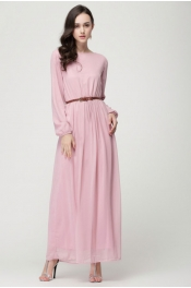 Muslim Trendy Modern Style Casual Outdoor Jubah Dress With (Belt)