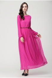 Modern Rubber Sleeve Jubah Dress (With Belt)
