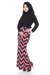 Muslim Soft Cotton Casual Skirts 2 Tone