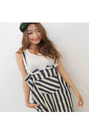 Korean Summer Cute Stripes Strap Casual Jumpsuits