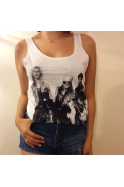 Retro Rocker Design Logo Printed Casual Tops Tank Vest