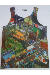 Retro Facebook Twitter Casual Print Tops Vest Tank