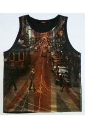 Beach Island Casual Art Design Print Vest Tank Tops