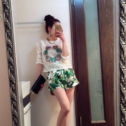 Korean Summer Tops+Short Pants Flora Printed Casual Design