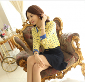 Korean Summer Dot Printed Polyester Tops Long Sleeve