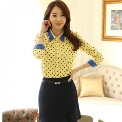 Korean Summer Dot Printed Polyester Tops Long Sleeve