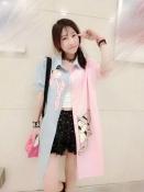 Korean Summer Pink Panther Printed Casual Loose Tops Exclusive