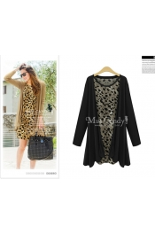 Korean Autumn Leopard Skin Two Piece Top + Jacket Blazer