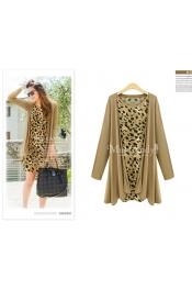 Korean Autumn Leopard Skin Two Piece Top + Jacket Blazer