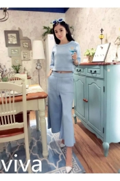 Korean Autumn Retro Design Top+Pant two piece