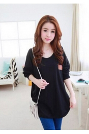 Korean Autumn Long Sleeve Loose Shoulder Casual Top