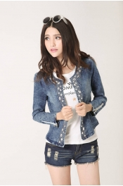 Korean Autumn Jeans Diamond Jacket Blazer
